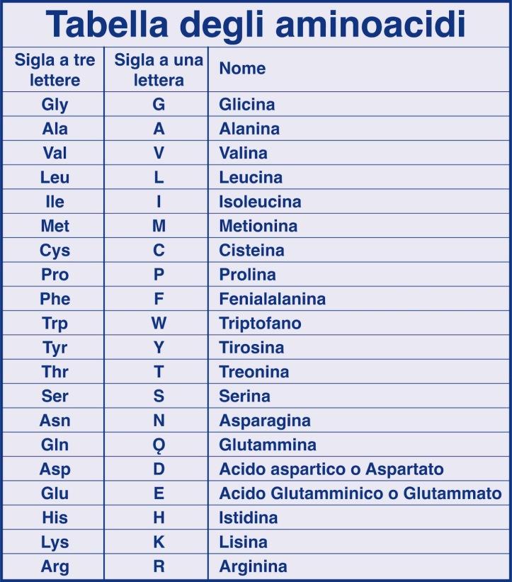 Tabella aminoacidi